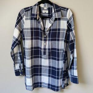 LOFT Blue Plaid Softened Shirt Button-Up Size M